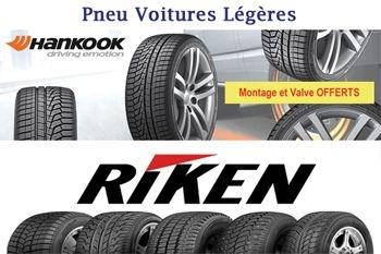 A partir de 39 € un pneu de marque Riken pour votre voiture légère - montage et valve offerts