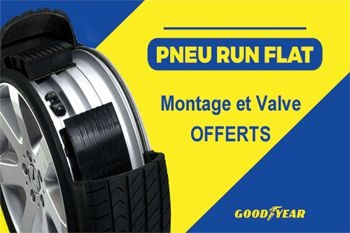 A partir de 115 € un pneu RUN FLAT de marque Goodyear pour votre véhicule - montage et valve offerts