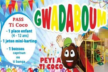 Pass Ti Coco à 9 € pour les 4 ans - 12 ans, dans le 1er parc intérieur, climatisé et sécurisé de Guadeloupe