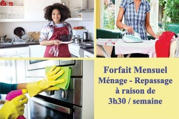 Un abonnement mensuel de 14 heures de ménage et/ou repassage proposé par Deals Guadeloupe