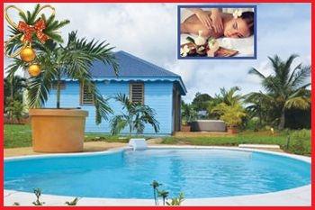 Un forfait Noël massage avec un séjour de 2N/4 Pers dans un bungalow VUE MER EXCEPTIONNELLE (Jacuzzi individuel, piscine) avec Deals Guadeloupe